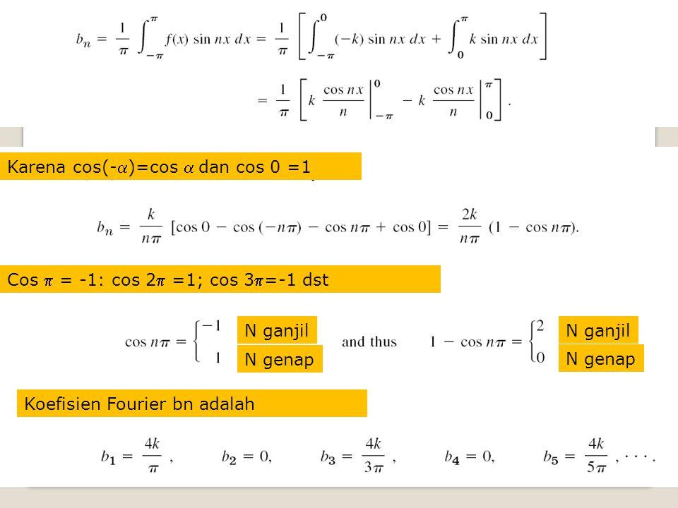 Karena cos(-)=cos  dan cos 0 =1 Cos  = -1: cos 2 =1; cos 3=-1 dst N ganjil N genap N ganjil N genap Koefisien Fourier bn adalah