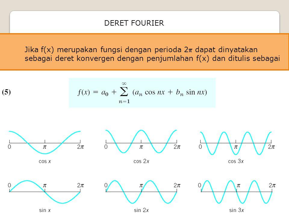 Jika f(x) merupakan fungsi dengan perioda 2 dapat dinyatakan sebagai deret konvergen dengan penjumlahan f(x) dan ditulis sebagai DERET FOURIER
