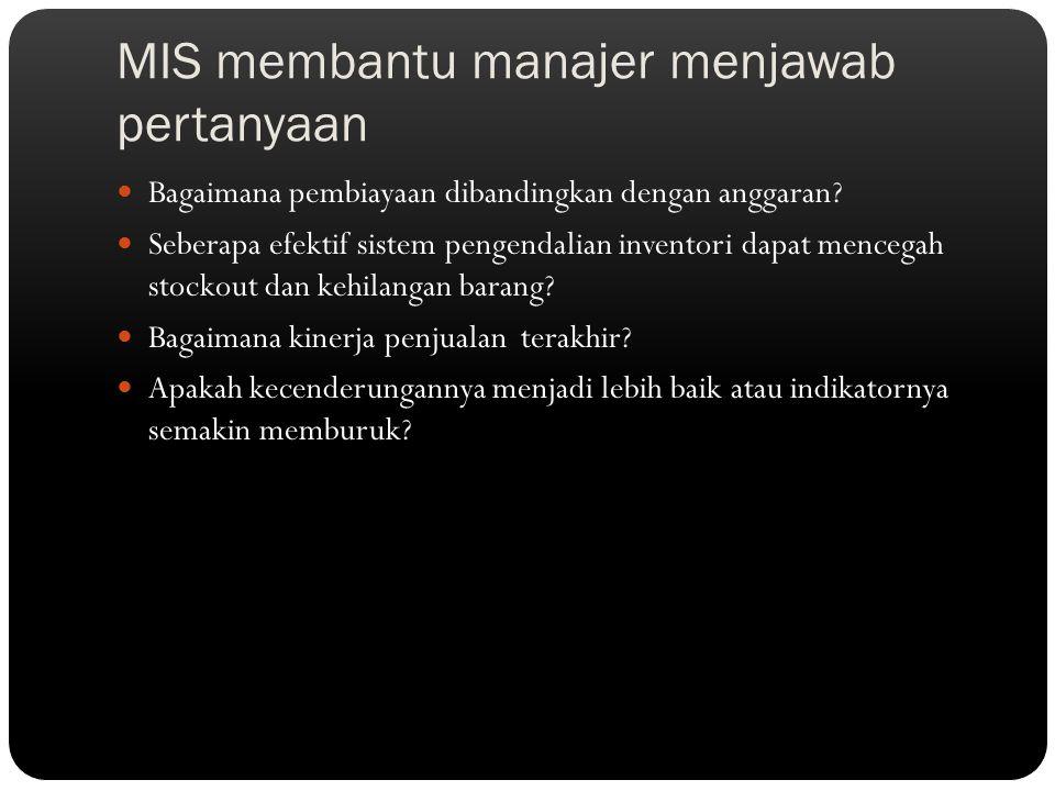 MIS membantu manajer menjawab pertanyaan Bagaimana pembiayaan dibandingkan dengan anggaran? Seberapa efektif sistem pengendalian inventori dapat mence