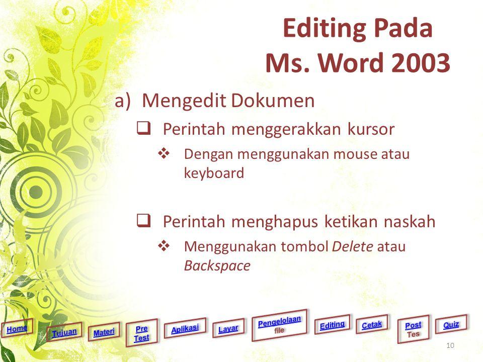 Editing Pada Ms. Word 2003 a)Mengedit Dokumen  Perintah menggerakkan kursor  Dengan menggunakan mouse atau keyboard  Perintah menghapus ketikan nas