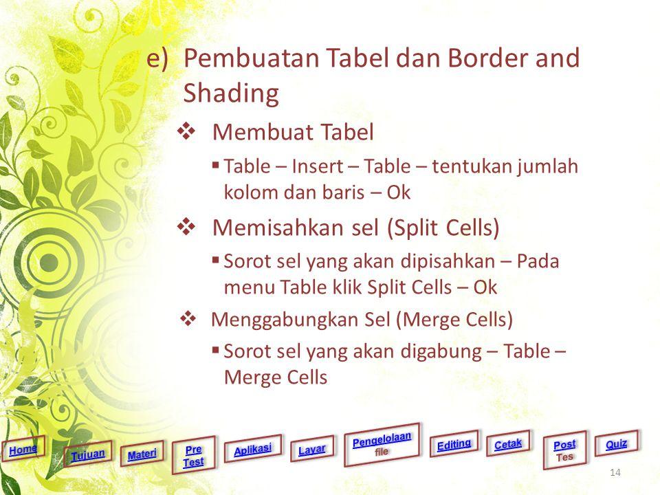e)Pembuatan Tabel dan Border and Shading  Membuat Tabel  Table – Insert – Table – tentukan jumlah kolom dan baris – Ok  Memisahkan sel (Split Cells