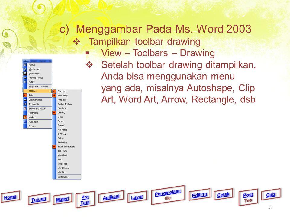 c)Menggambar Pada Ms. Word 2003  Tampilkan toolbar drawing  View – Toolbars – Drawing  Setelah toolbar drawing ditampilkan, Anda bisa menggunakan m