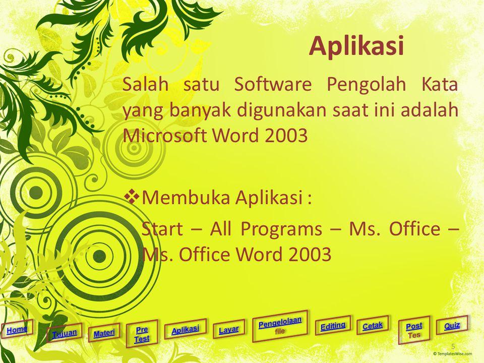 Aplikasi Salah satu Software Pengolah Kata yang banyak digunakan saat ini adalah Microsoft Word 2003  Membuka Aplikasi : Start – All Programs – Ms. O