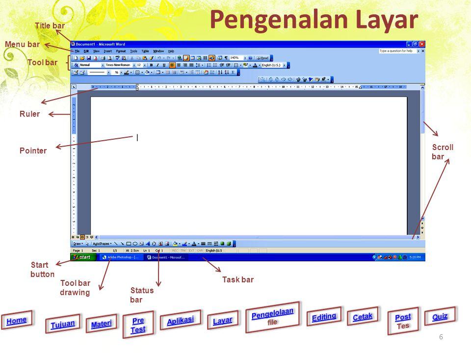 Pengenalan Layar Title bar Menu bar Tool bar Ruler Scroll bar Tool bar drawing Start button Task bar Status bar Pointer 6