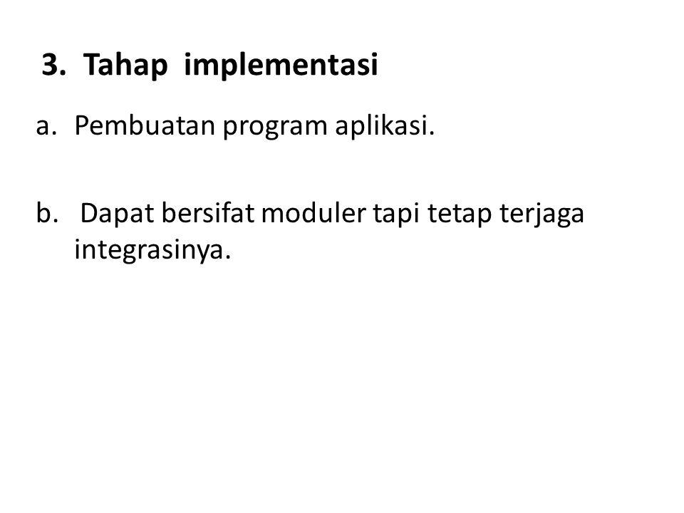 3. Tahap implementasi a.Pembuatan program aplikasi. b. Dapat bersifat moduler tapi tetap terjaga integrasinya.