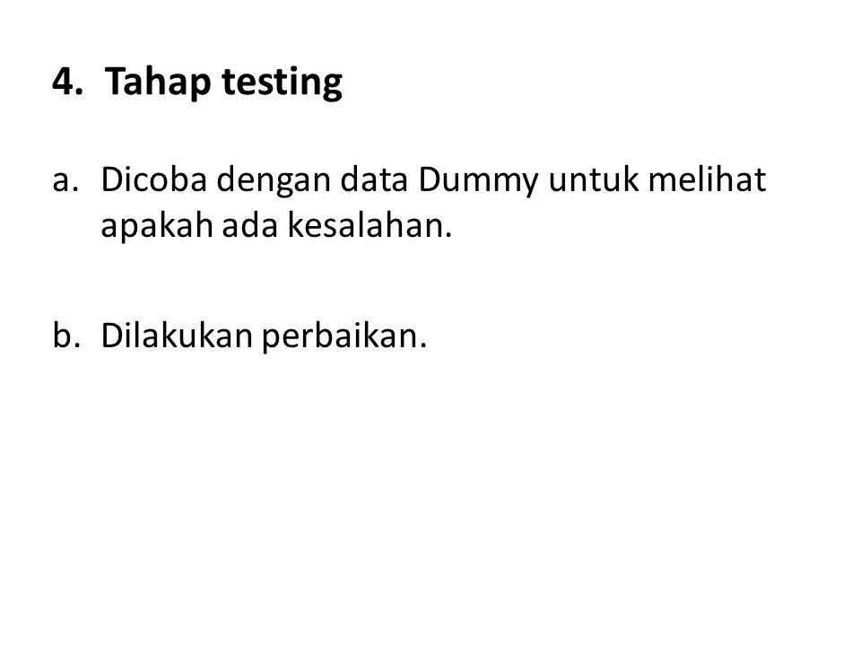 4. Tahap testing a.Dicoba dengan data Dummy untuk melihat apakah ada kesalahan. b.Dilakukan perbaikan.