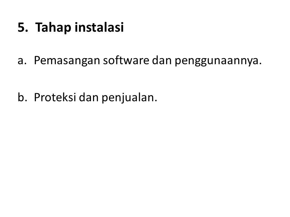 5. Tahap instalasi a.Pemasangan software dan penggunaannya. b.Proteksi dan penjualan.