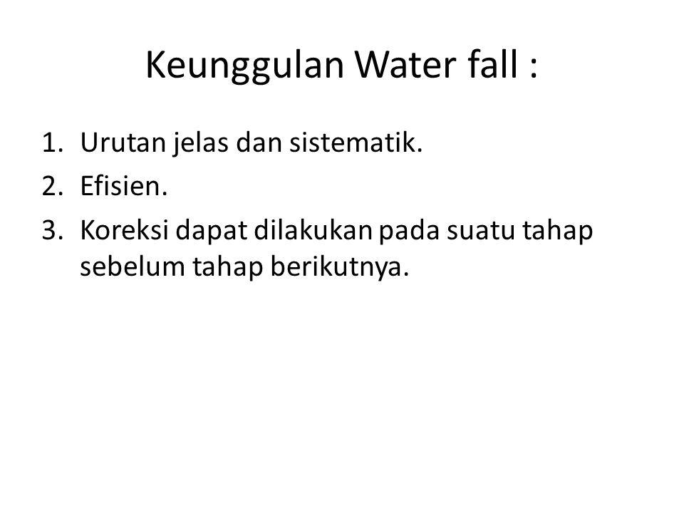 Keunggulan Water fall : 1.Urutan jelas dan sistematik. 2.Efisien. 3.Koreksi dapat dilakukan pada suatu tahap sebelum tahap berikutnya.