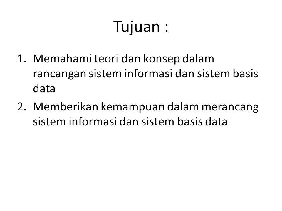 Tujuan : 1.Memahami teori dan konsep dalam rancangan sistem informasi dan sistem basis data 2.Memberikan kemampuan dalam merancang sistem informasi da