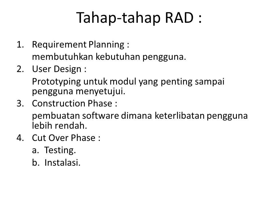 Tahap-tahap RAD : 1.Requirement Planning : membutuhkan kebutuhan pengguna. 2.User Design : Prototyping untuk modul yang penting sampai pengguna menyet