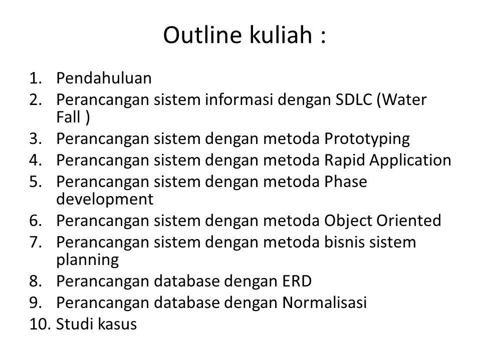 Outline kuliah : 1.Pendahuluan 2.Perancangan sistem informasi dengan SDLC (Water Fall ) 3.Perancangan sistem dengan metoda Prototyping 4.Perancangan s