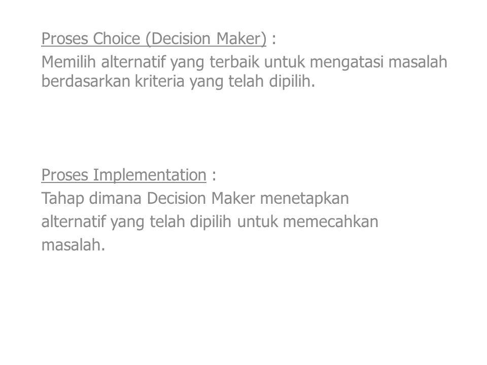 Proses Choice (Decision Maker) : Memilih alternatif yang terbaik untuk mengatasi masalah berdasarkan kriteria yang telah dipilih. Proses Implementatio