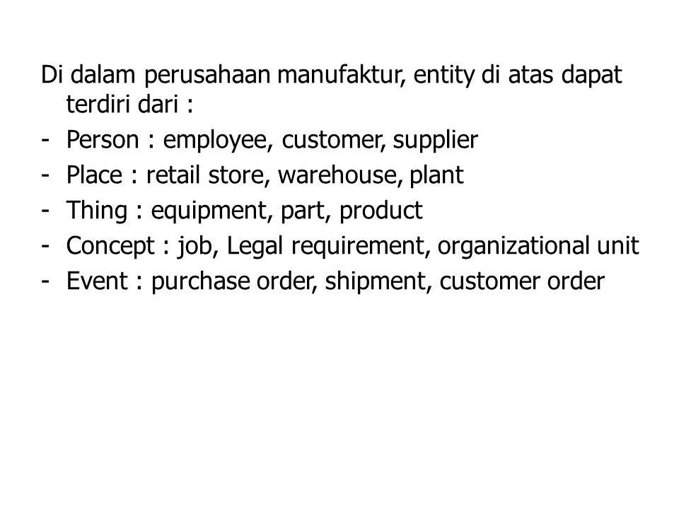 Di dalam perusahaan manufaktur, entity di atas dapat terdiri dari : -Person : employee, customer, supplier -Place : retail store, warehouse, plant -Th