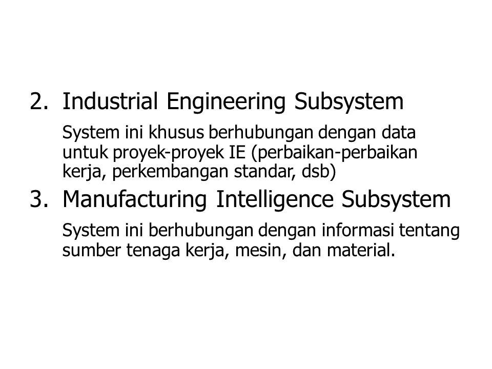 2.Industrial Engineering Subsystem System ini khusus berhubungan dengan data untuk proyek-proyek IE (perbaikan-perbaikan kerja, perkembangan standar,