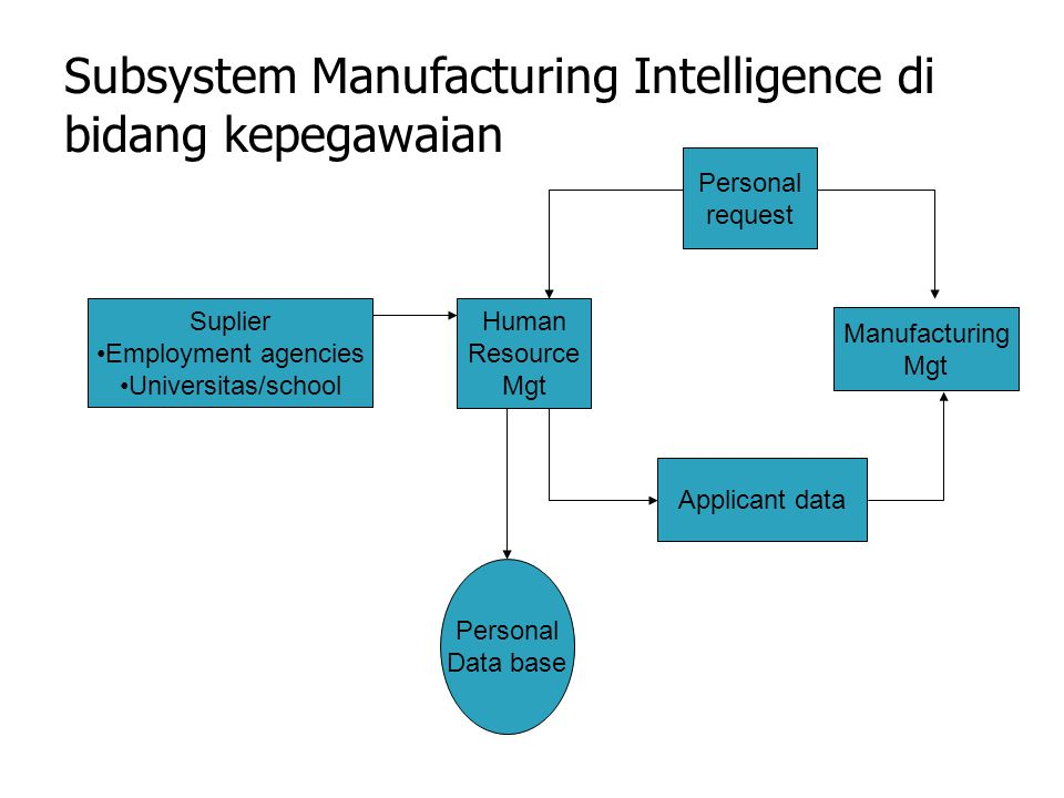 Subsystem Manufacturing Intelligence di bidang kepegawaian Suplier Employment agencies Universitas/school Applicant data Personal request Human Resource Mgt Manufacturing Mgt Personal Data base