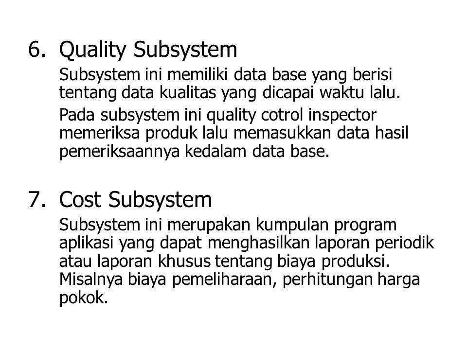 6.Quality Subsystem Subsystem ini memiliki data base yang berisi tentang data kualitas yang dicapai waktu lalu. Pada subsystem ini quality cotrol insp