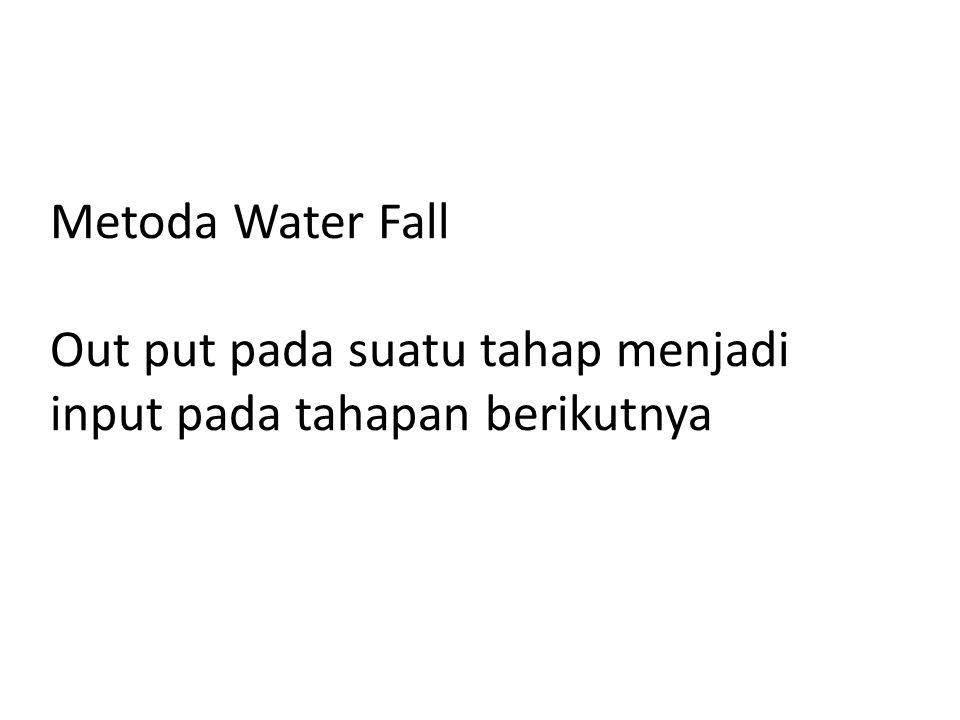 Metoda Water Fall Out put pada suatu tahap menjadi input pada tahapan berikutnya