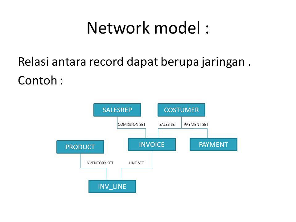 Network model : Relasi antara record dapat berupa jaringan. Contoh : COMISSION SET SALES SET PAYMENT SET INVENTORY SET LINE SET SALESREPCOSTUMER INVOI