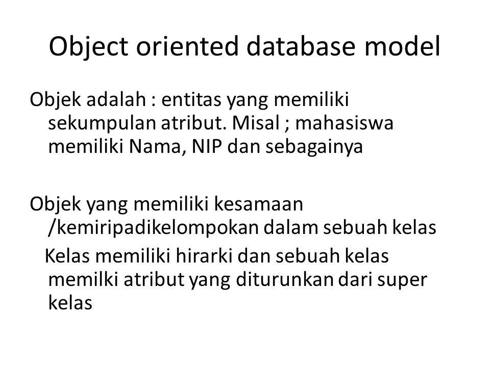 Object oriented database model Objek adalah : entitas yang memiliki sekumpulan atribut. Misal ; mahasiswa memiliki Nama, NIP dan sebagainya Objek yang