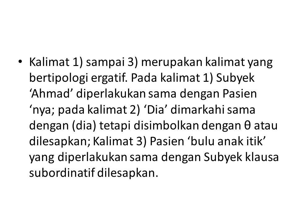 Kalimat 1) sampai 3) merupakan kalimat yang bertipologi ergatif. Pada kalimat 1) Subyek 'Ahmad' diperlakukan sama dengan Pasien 'nya; pada kalimat 2)
