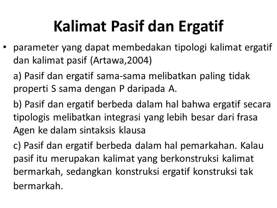 Kalimat Pasif dan Ergatif parameter yang dapat membedakan tipologi kalimat ergatif dan kalimat pasif (Artawa,2004) a) Pasif dan ergatif sama-sama meli