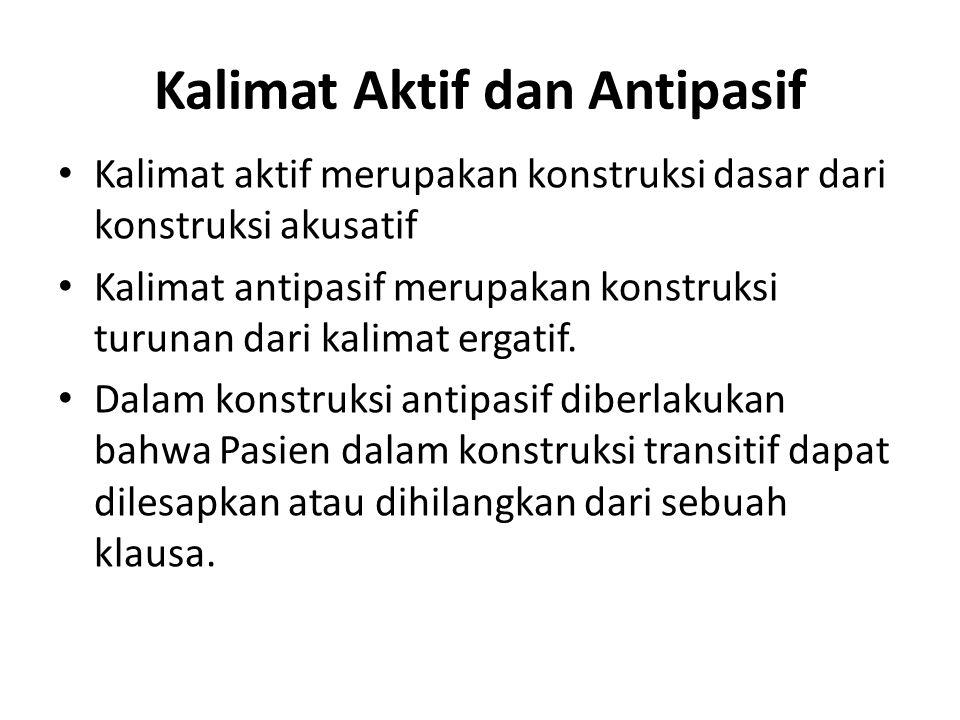 Kalimat Aktif dan Antipasif Kalimat aktif merupakan konstruksi dasar dari konstruksi akusatif Kalimat antipasif merupakan konstruksi turunan dari kali