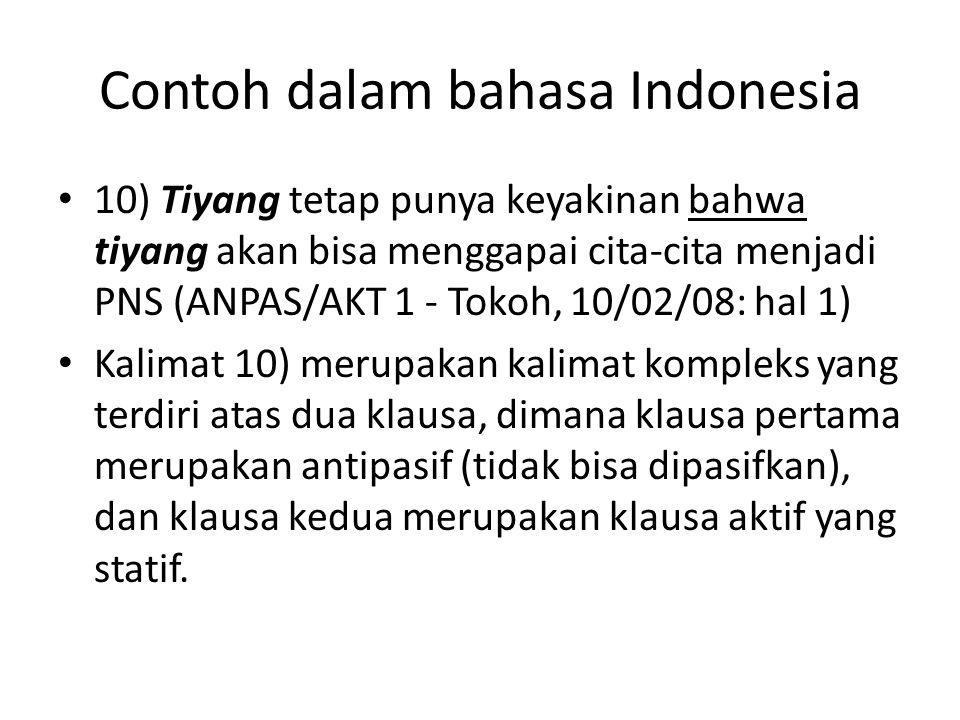 Contoh dalam bahasa Indonesia 10) Tiyang tetap punya keyakinan bahwa tiyang akan bisa menggapai cita-cita menjadi PNS (ANPAS/AKT 1 - Tokoh, 10/02/08: