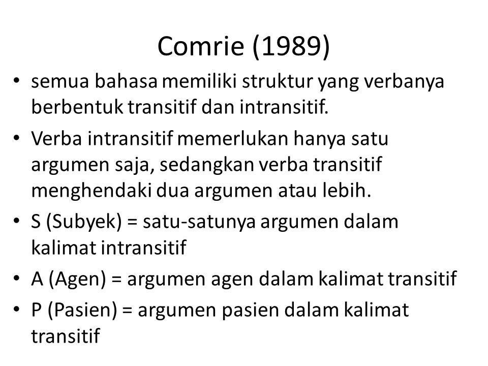 Comrie (1989) semua bahasa memiliki struktur yang verbanya berbentuk transitif dan intransitif. Verba intransitif memerlukan hanya satu argumen saja,