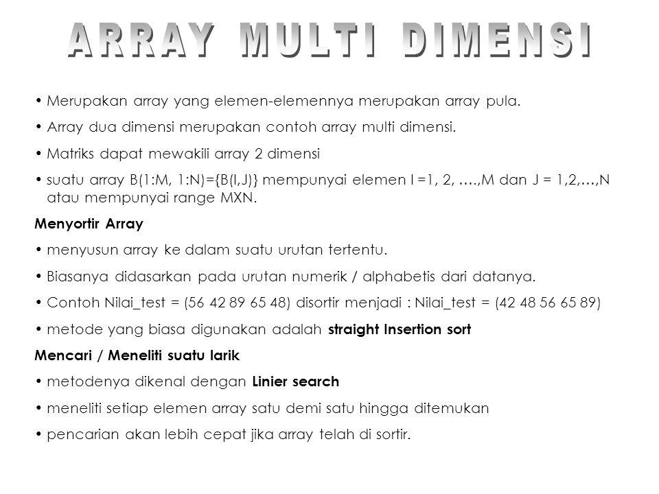Merupakan array yang elemen-elemennya merupakan array pula.
