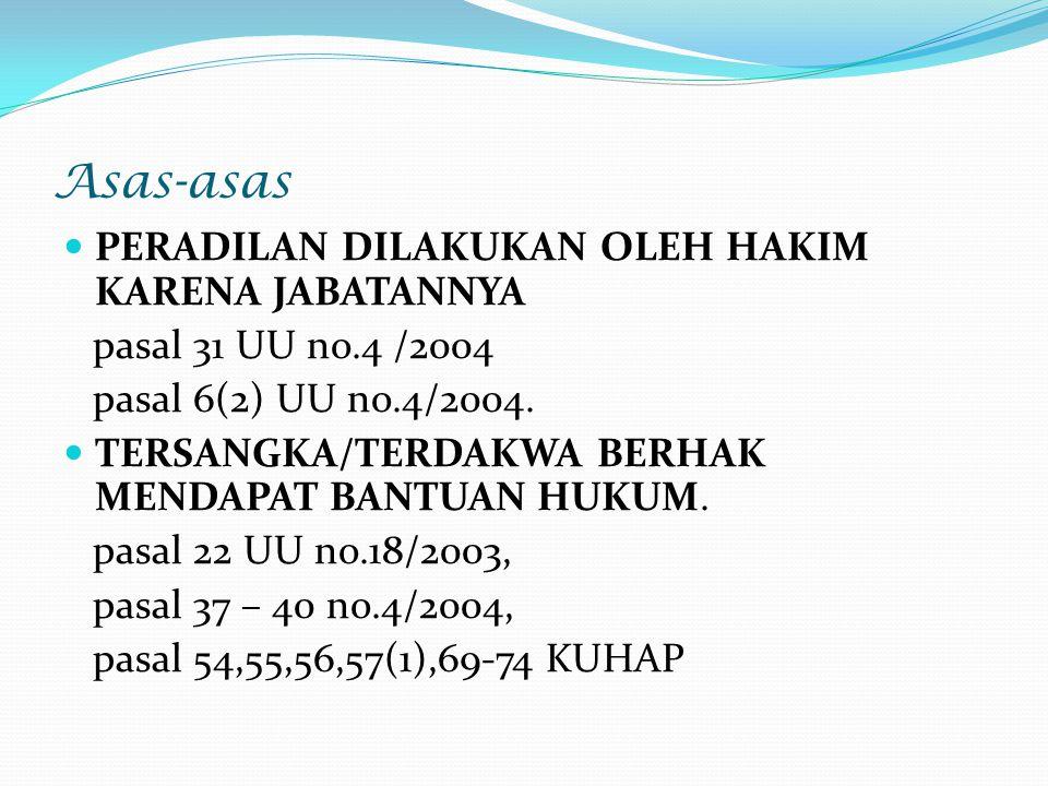 Asas-asas PERADILAN DILAKUKAN OLEH HAKIM KARENA JABATANNYA pasal 31 UU no.4 /2004 pasal 6(2) UU no.4/2004. TERSANGKA/TERDAKWA BERHAK MENDAPAT BANTUAN