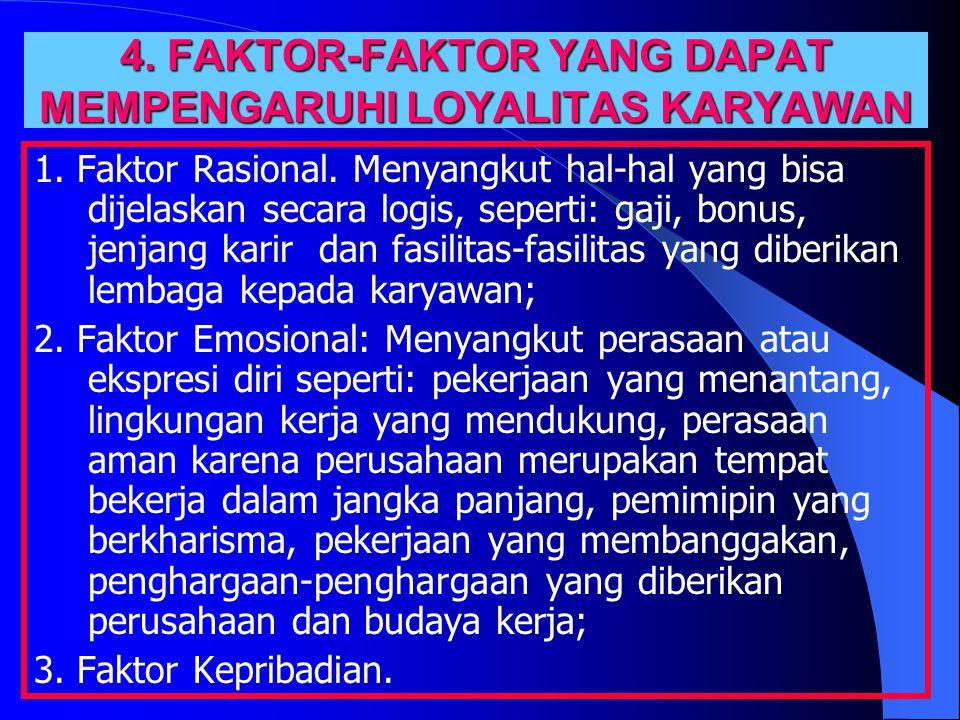 4. FAKTOR-FAKTOR YANG DAPAT MEMPENGARUHI LOYALITAS KARYAWAN 1.