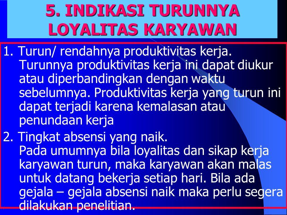 5. INDIKASI TURUNNYA LOYALITAS KARYAWAN 1. Turun/ rendahnya produktivitas kerja.