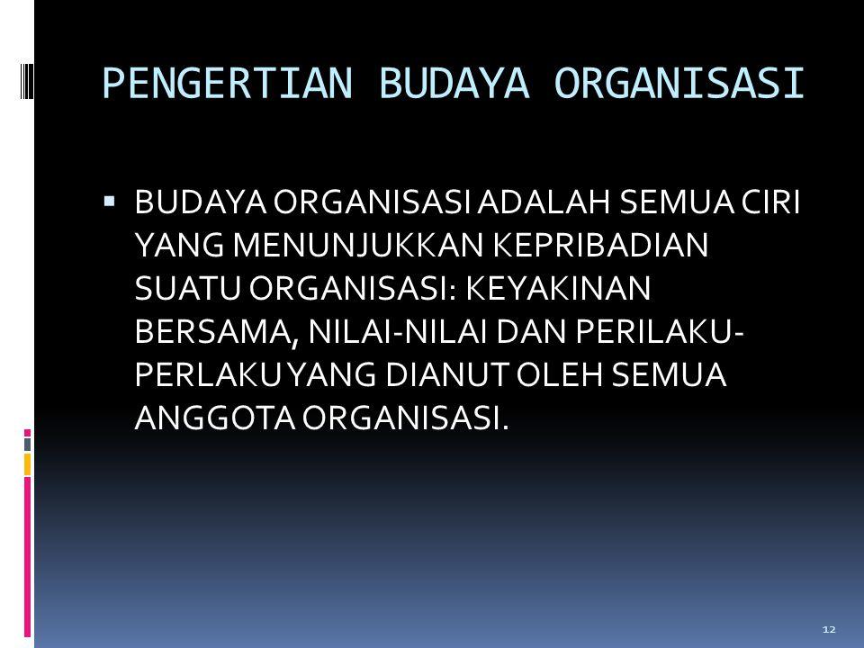 PENGERTIAN BUDAYA ORGANISASI  BUDAYA ORGANISASI ADALAH SEMUA CIRI YANG MENUNJUKKAN KEPRIBADIAN SUATU ORGANISASI: KEYAKINAN BERSAMA, NILAI-NILAI DAN PERILAKU- PERLAKU YANG DIANUT OLEH SEMUA ANGGOTA ORGANISASI.