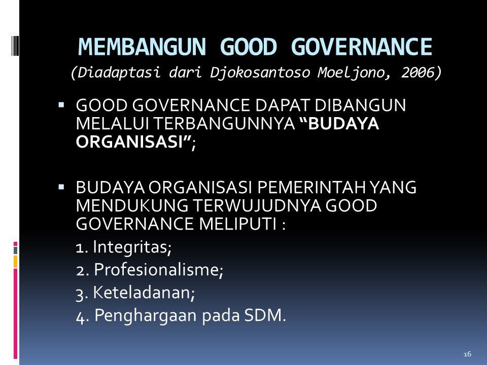 MEMBANGUN GOOD GOVERNANCE (Diadaptasi dari Djokosantoso Moeljono, 2006)  GOOD GOVERNANCE DAPAT DIBANGUN MELALUI TERBANGUNNYA BUDAYA ORGANISASI ;  BUDAYA ORGANISASI PEMERINTAH YANG MENDUKUNG TERWUJUDNYA GOOD GOVERNANCE MELIPUTI : 1.
