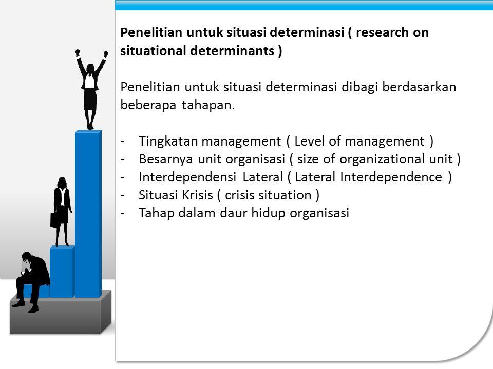 Tahap – Tahap dalam suatu siklus hidup organisasi ( Stage in the organizational life cycle ) Perubahan sifat kerja manajerial ( Changes in the nature of managerial work ) Berapa banyak kebijaksanaan yang manajer punya .