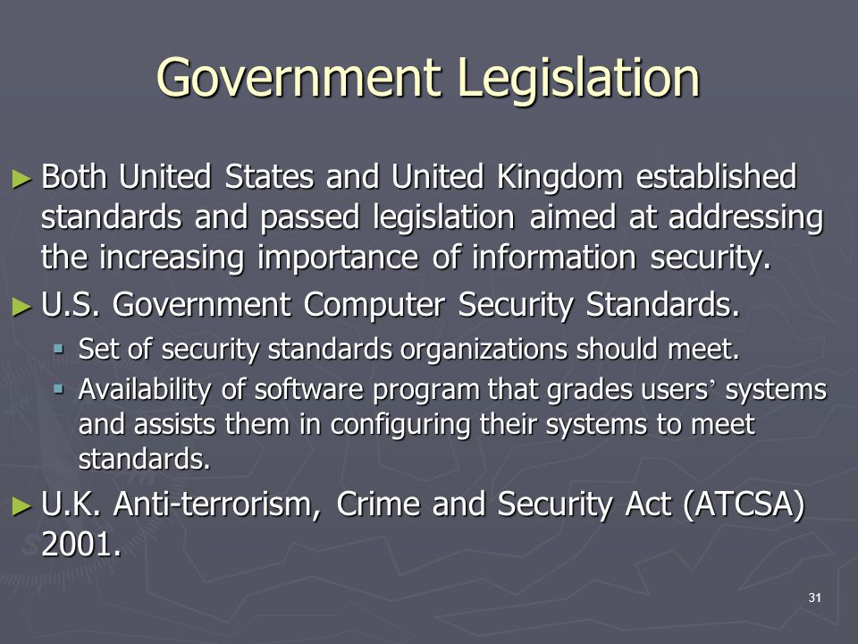 31 Government Legislation ► Both United States and United Kingdom established standards and passed legislation aimed at addressing the increasing impo