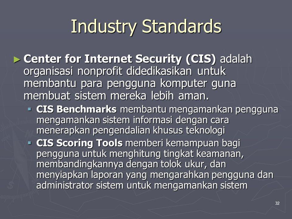 32 Industry Standards ► Center for Internet Security (CIS) adalah organisasi nonprofit didedikasikan untuk membantu para pengguna komputer guna membuat sistem mereka lebih aman.