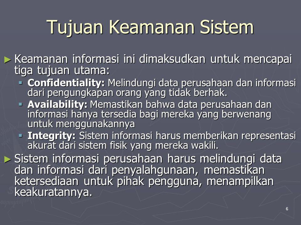 6 Tujuan Keamanan Sistem ► Keamanan informasi ini dimaksudkan untuk mencapai tiga tujuan utama:  Confidentiality: Melindungi data perusahaan dan informasi dari pengungkapan orang yang tidak berhak.