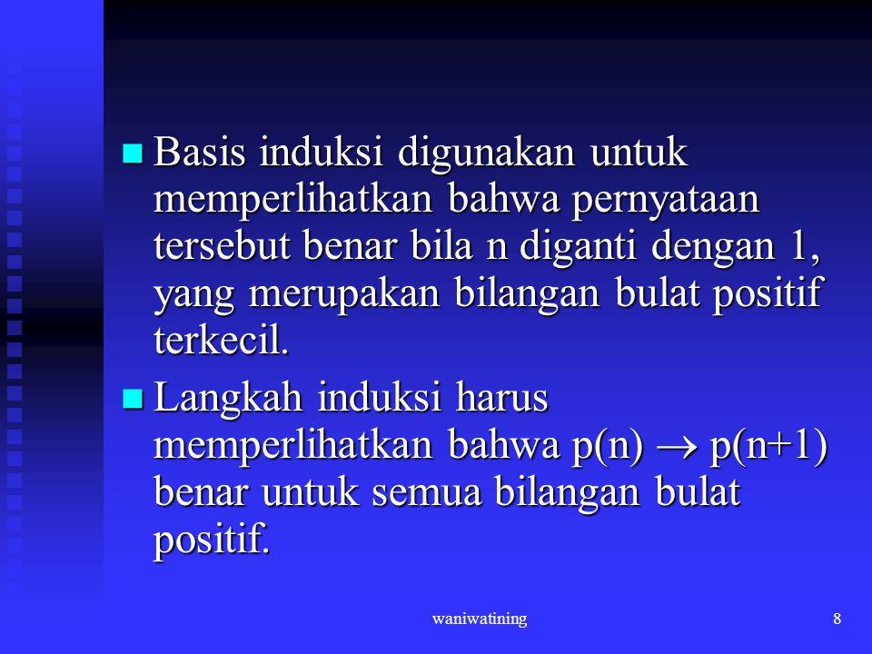 waniwatining8 Basis induksi digunakan untuk memperlihatkan bahwa pernyataan tersebut benar bila n diganti dengan 1, yang merupakan bilangan bulat posi