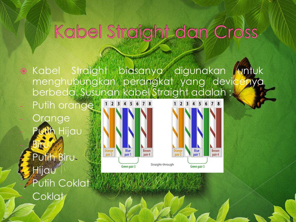 KKabel Straight biasanya digunakan untuk menghubungkan perangkat yang devicenya berbeda.