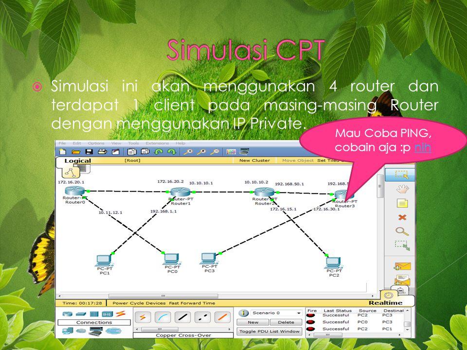  Simulasi ini akan menggunakan 4 router dan terdapat 1 client pada masing-masing Router dengan menggunakan IP Private.