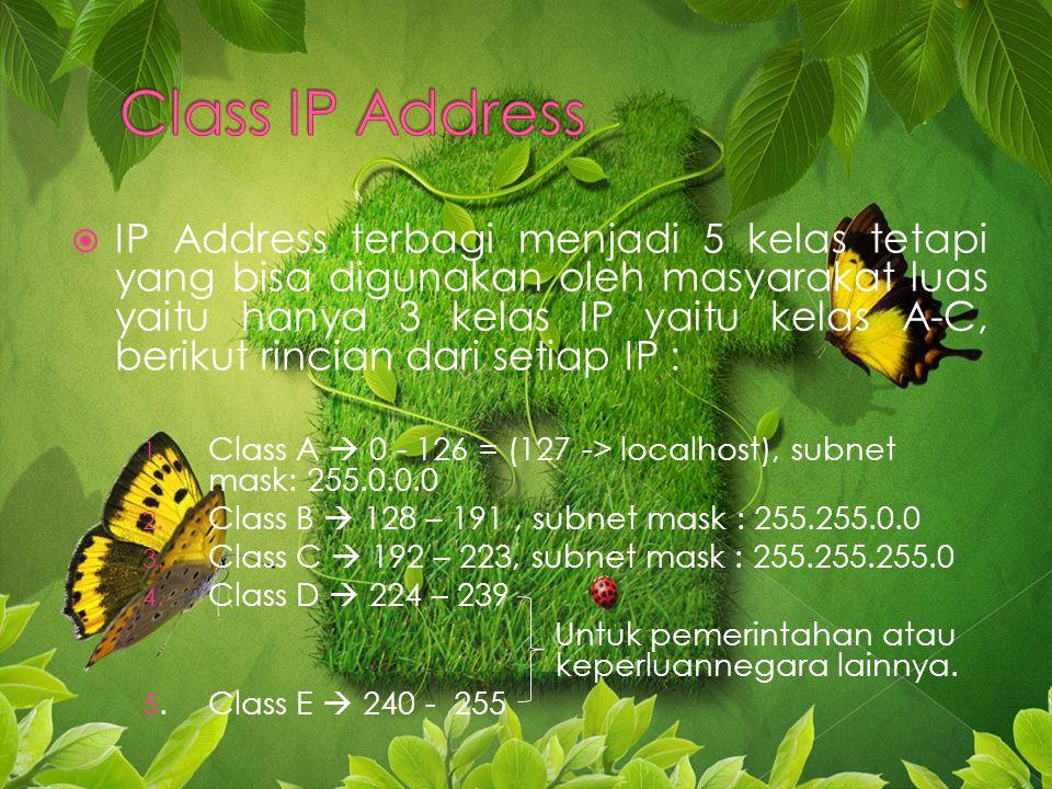 IIP Address terbagi menjadi 5 kelas tetapi yang bisa digunakan oleh masyarakat luas yaitu hanya 3 kelas IP yaitu kelas A-C, berikut rincian dari setiap IP : 1.