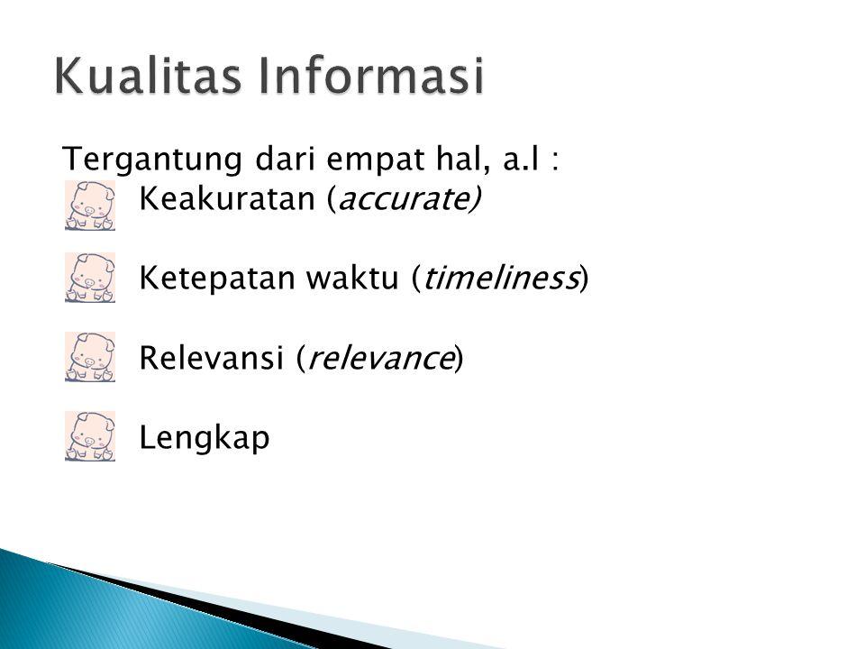 Tergantung dari empat hal, a.l : Keakuratan (accurate) Ketepatan waktu (timeliness) Relevansi (relevance) Lengkap