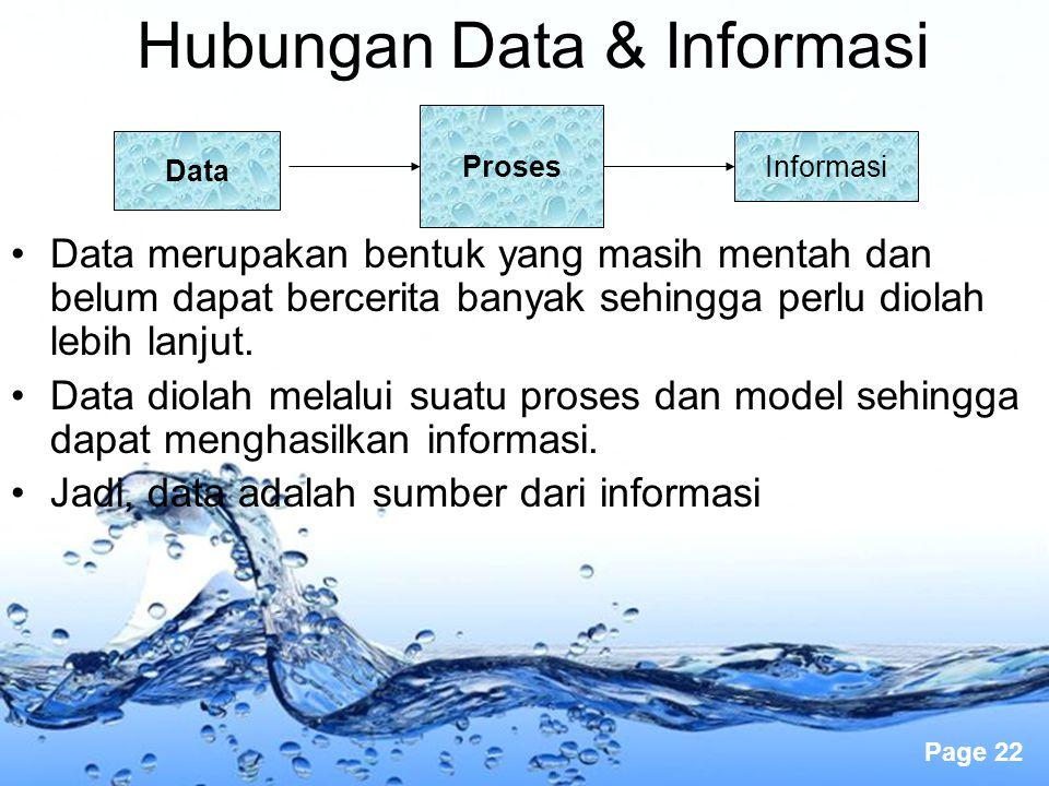 Page 22 Hubungan Data & Informasi Data merupakan bentuk yang masih mentah dan belum dapat bercerita banyak sehingga perlu diolah lebih lanjut. Data di