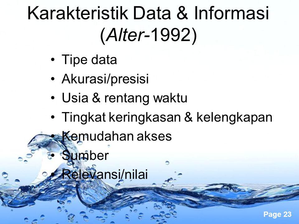 Page 23 Karakteristik Data & Informasi (Alter-1992) Tipe data Akurasi/presisi Usia & rentang waktu Tingkat keringkasan & kelengkapan Kemudahan akses S