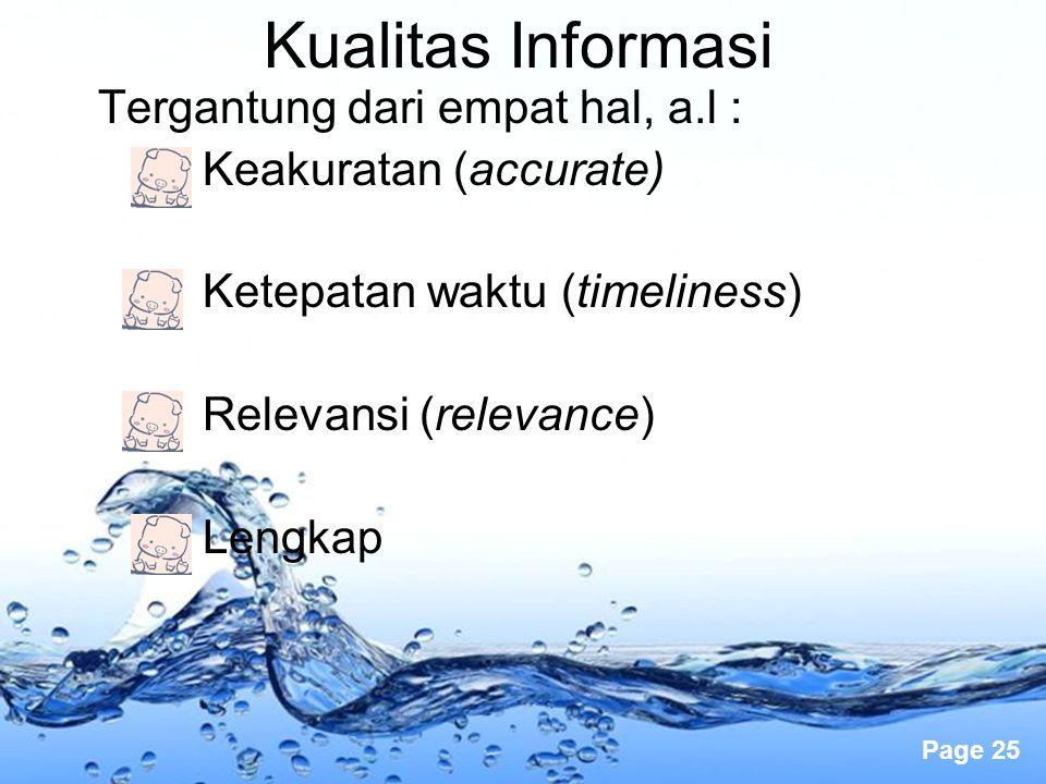 Page 25 Kualitas Informasi Tergantung dari empat hal, a.l : Keakuratan (accurate) Ketepatan waktu (timeliness) Relevansi (relevance) Lengkap