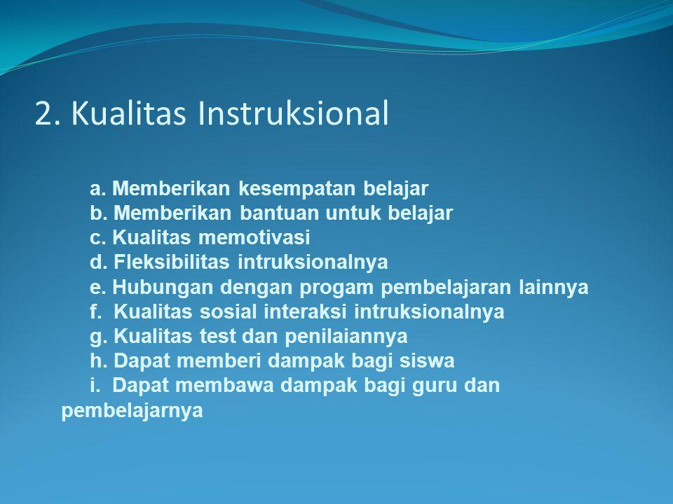 2.Kualitas Instruksional a. Memberikan kesempatan belajar b.