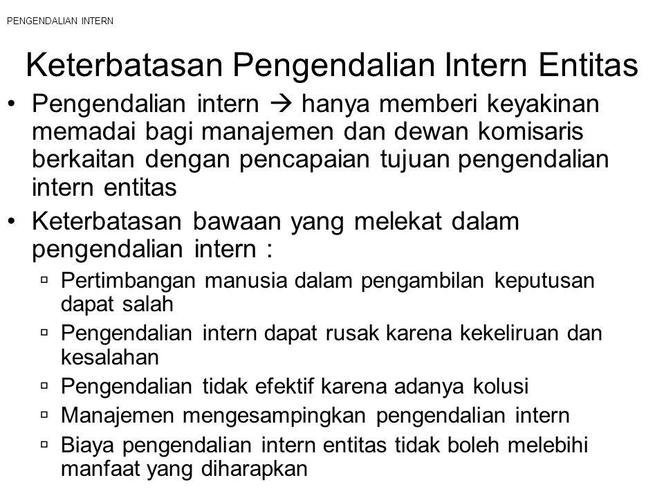PENGENDALIAN INTERN Keterbatasan Pengendalian Intern Entitas Pengendalian intern  hanya memberi keyakinan memadai bagi manajemen dan dewan komisaris