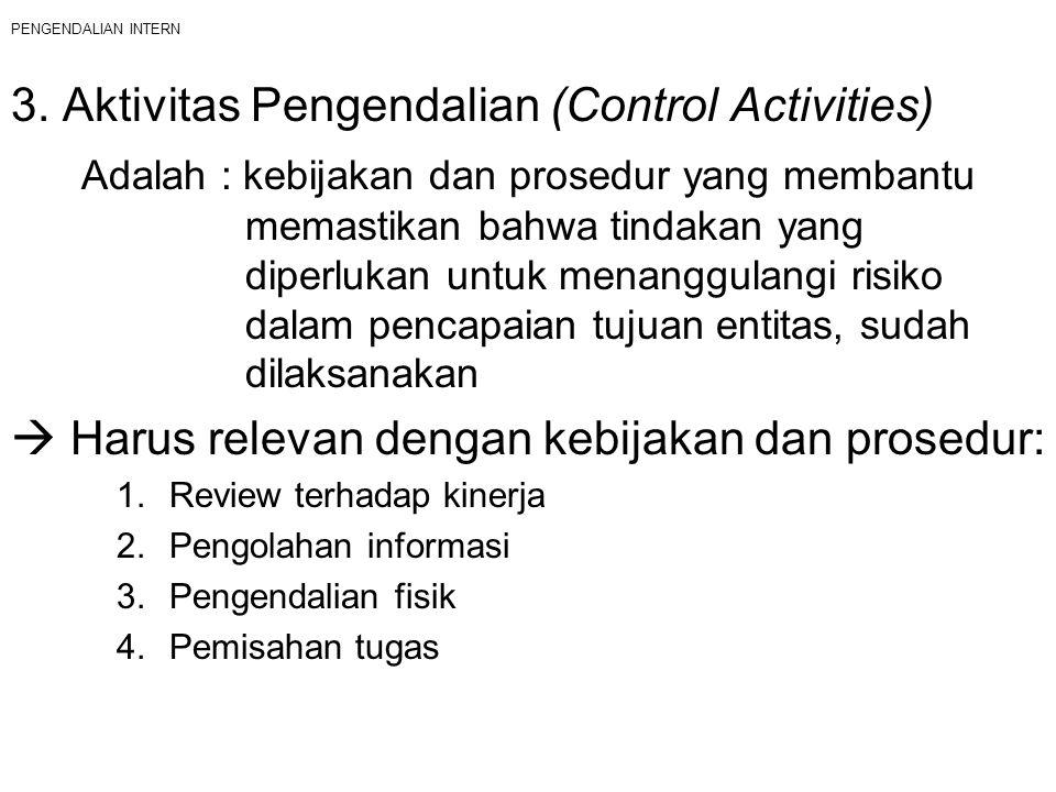 PENGENDALIAN INTERN 3. Aktivitas Pengendalian (Control Activities) Adalah : kebijakan dan prosedur yang membantu memastikan bahwa tindakan yang diperl