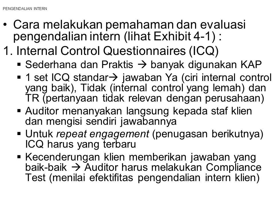 PENGENDALIAN INTERN Cara melakukan pemahaman dan evaluasi pengendalian intern (lihat Exhibit 4-1) : 1. Internal Control Questionnaires (ICQ)  Sederha